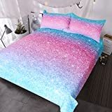 BlessLiving Colorful Glitter Bedding Girly Turquoise Blue Pink and Purple Pastel Colors Duvet Cover 3 Piece Trendy Bed Spreads (Full)
