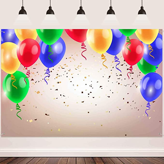 7x10 FT Vinyl Photography Background Backdrops,Cartoon Colorful Image Party Birds with Cones Surprise Boxes Fun Happiness Background for Graduation Prom Dance Decor Photo Booth Studio Prop Banner