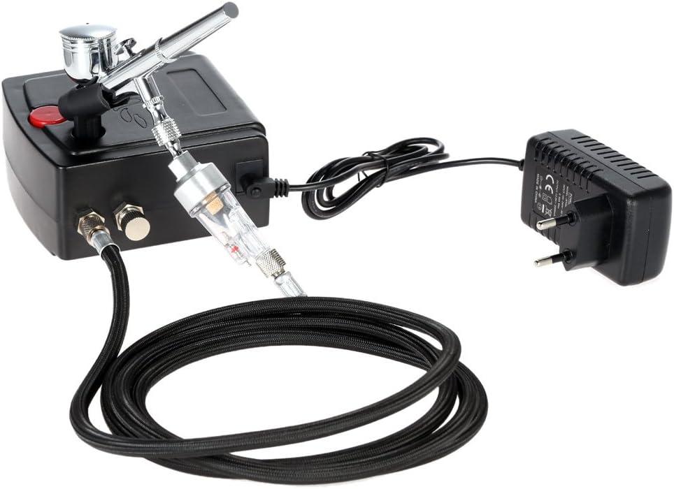KKmoon 100-240V Aerógrafo Compresor Profesional Juego de compresor de Aire de Pistola, Pintura artística/Arte de uñas/artesanía/Pistola de pulverización Modelo