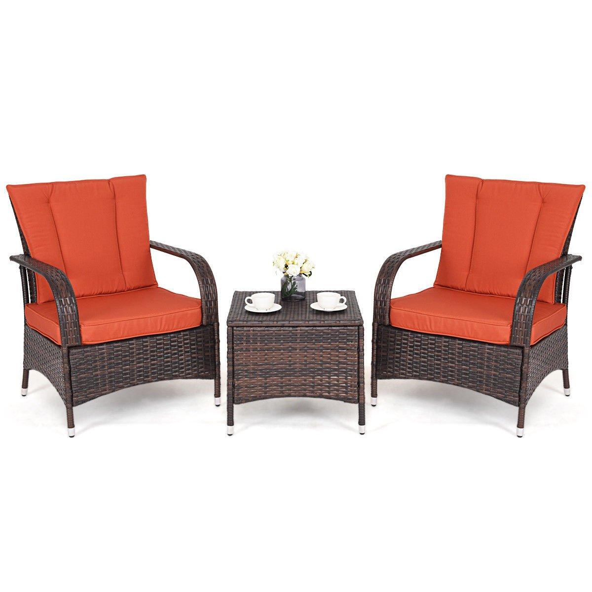 Aromdeeshopping Furniture Set Seat Cushioned Orange Outdoor Patio Mix Brown Rattan Wicker 3PC by Aromdeeshopping