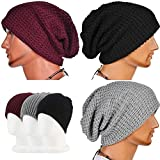 ZHW Men's Knit Hats Male Heap Cap Wool Caps Autumn Winter Outdoor Fashion Baotou Hats (3 Pack) (Black ,White ,Wine Red)