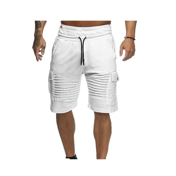 d44c51f63f02 BYSTE Pantalone Corti in Felpa di Cotone,Shorts Pantaloncini Cargo con  Tasca, Estate Bermuda
