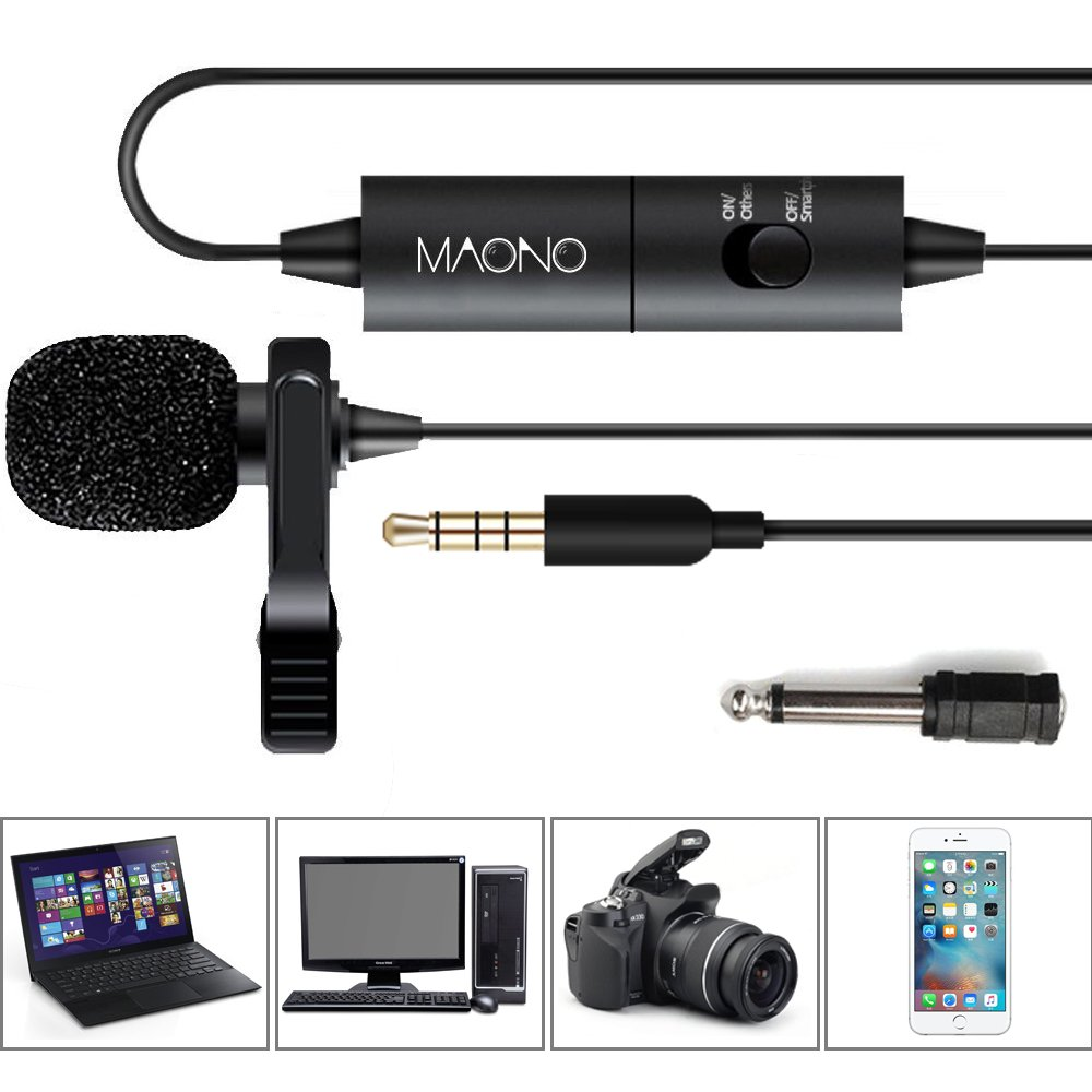 MAONO Lavalier Lapel Microphone with Omnidirectional Condenser Clip-on Mic with Jack Adapter & 6.5mm Adapter, Hands Free, for iPhone, Android, Camera, DSLR, Sony, PC, Laptop, Youtube