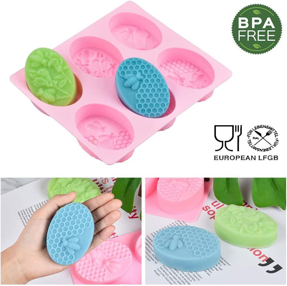 Oval Caking Bake Molds None Sticking/&BPA Candle Mold Silicone Soap Molds Tray Set of 2 Pack Soap Making Trays