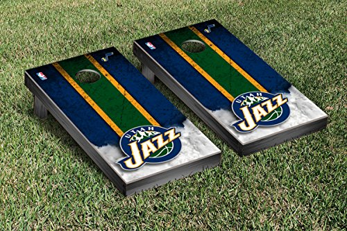 Utah Jazz NBA Basketball Cornhole Game Set Vintage Version by Victory Tailgate