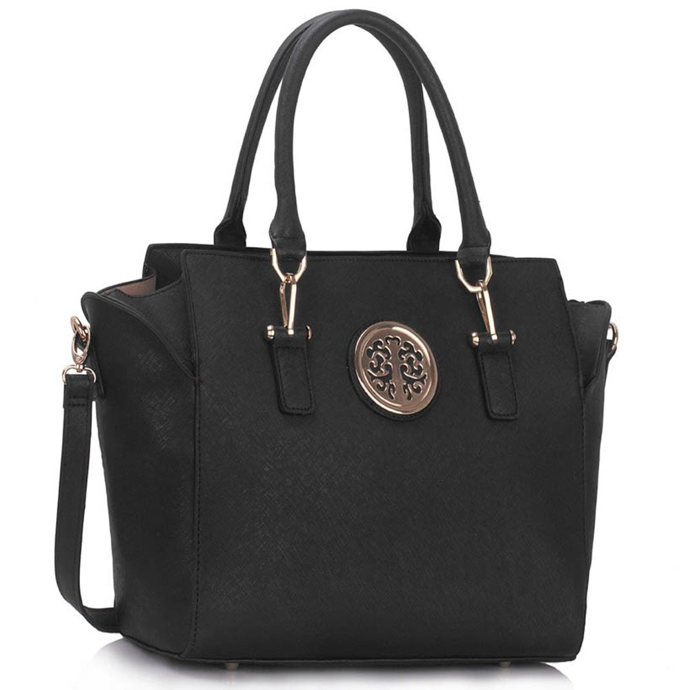 9d4894362e Ladies Women s Fashion Designer Celebrity Tote Bags Hot Selling Quality  Faux Leather Style Cross Body Handbag CWS00353 (Black)  Amazon.co.uk   Clothing