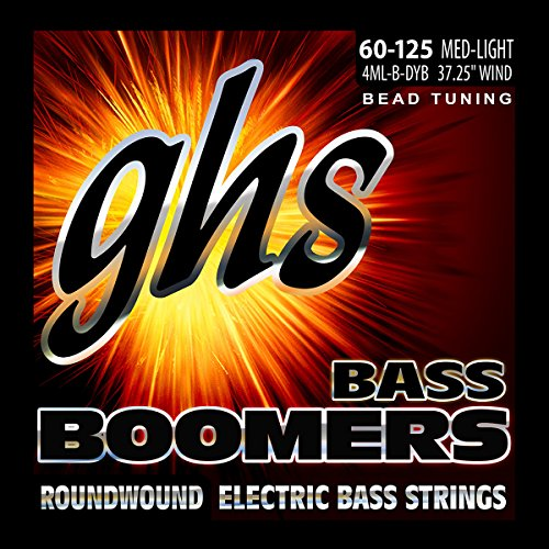 Ghs Accessories (GHS Strings 4ML-B-DYB Electric Bass Boomer String Sets Nickel Plated Guitar Strings, Custom)