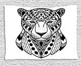 Ambesonne Animal Tapestry by, African Safari Panther in Folk Tribal Culture Effects Hunter Creature Image, Wall Hanging for Bedroom Living Room Dorm, 60WX40L Inches, Black White Grey