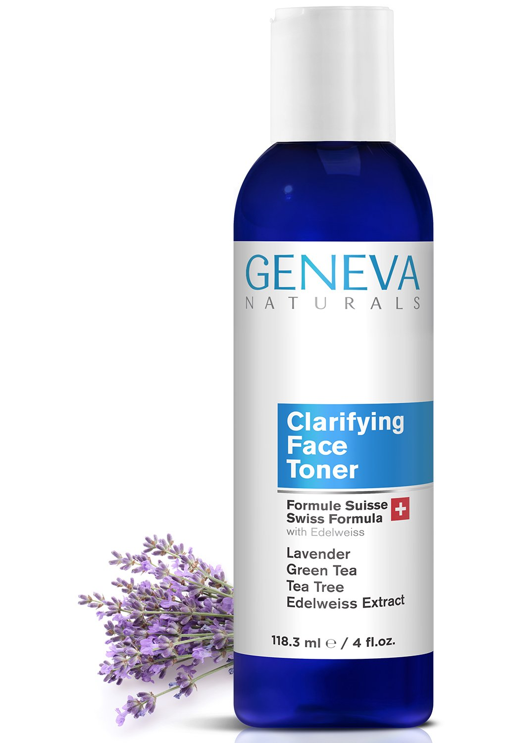 Clarifying Face Toner - Natural Swiss Anti-Aging Pore & Breakout Balance with Disinfectant - Features Lavender, Green Tea, Tea Tree Oil, and Edelweiss - Men & Women - 4oz