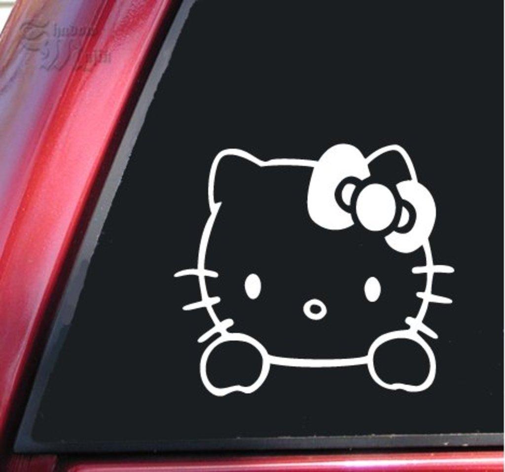 Hello kitty decal 6 x 5.5 White CCI125