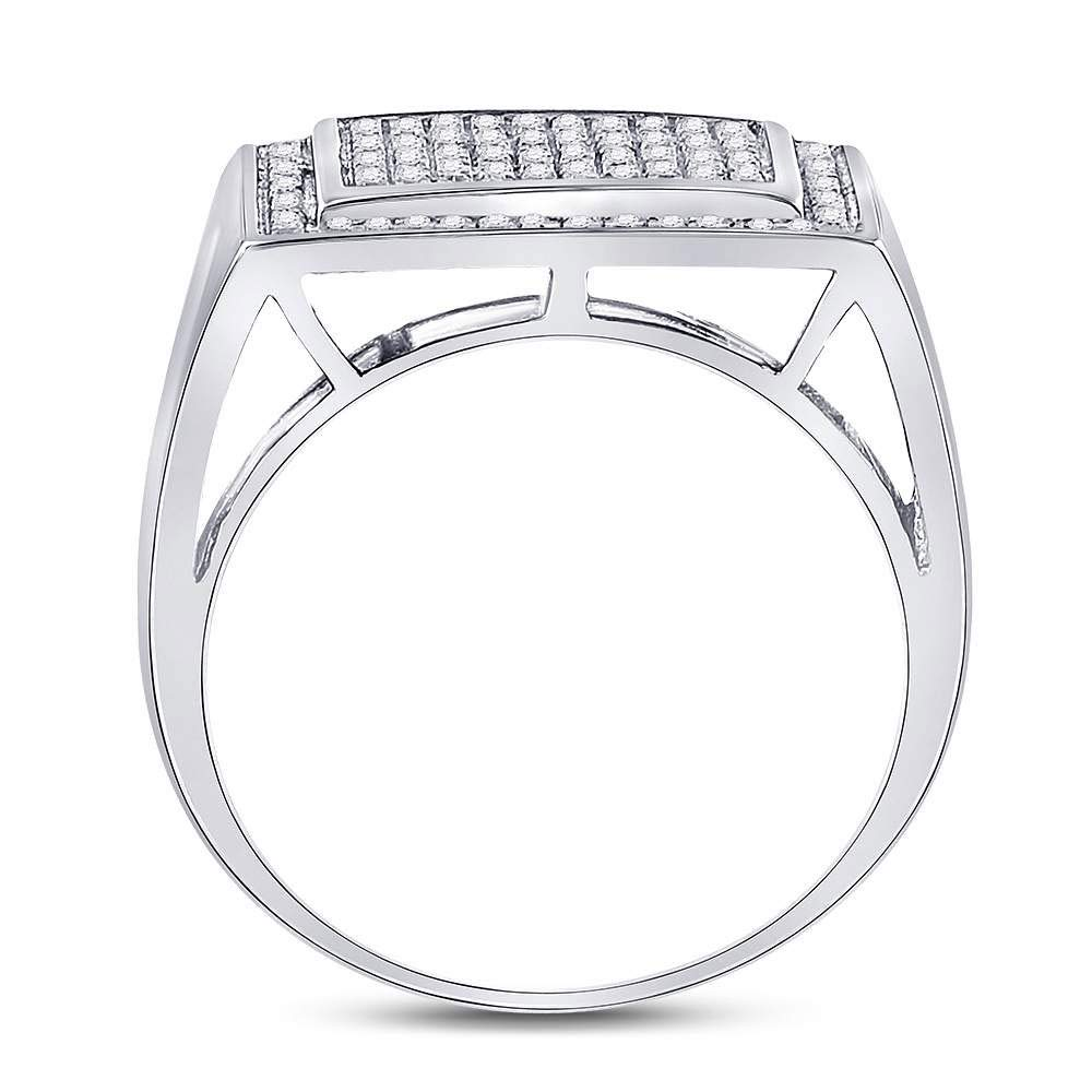 Diamond Mens Cluster Ring Fashion Band Cocktail Style 3//8ct 925 Sterling Silver