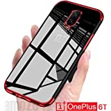 Amozo TPU Soft Flexible Ultra Slim Electroplated Transparent Case Back Cover for One Plus 6T (Red)