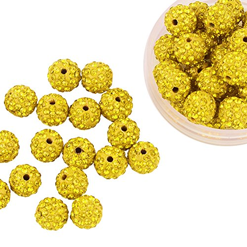 Citrine Round Charm (Pandahall 100 Pcs 10mm Citrine Shamballa Pave Disco Ball Clay Beads, Polymer Clay Rhinestone Beads Round Charms Jewelry Makings)