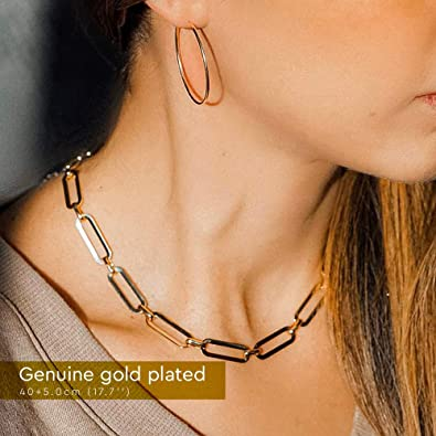 Gold Chain Necklaces for Women Oval Link