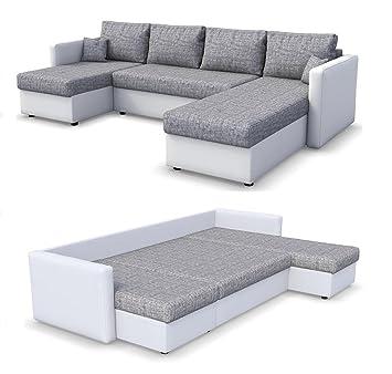 Oskar Wohnlandschaft King Size 290 X 140 Cm Weiss Grau Sofa Mit