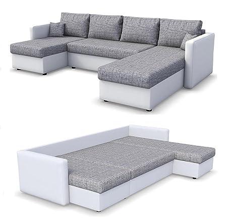 Oskar Wohnlandschaft King Size 290 X 140 Cm Weiss Grau Sofa Mit Schlaffunktion Schlafsofa Couch Bettfunktion Polsterecke