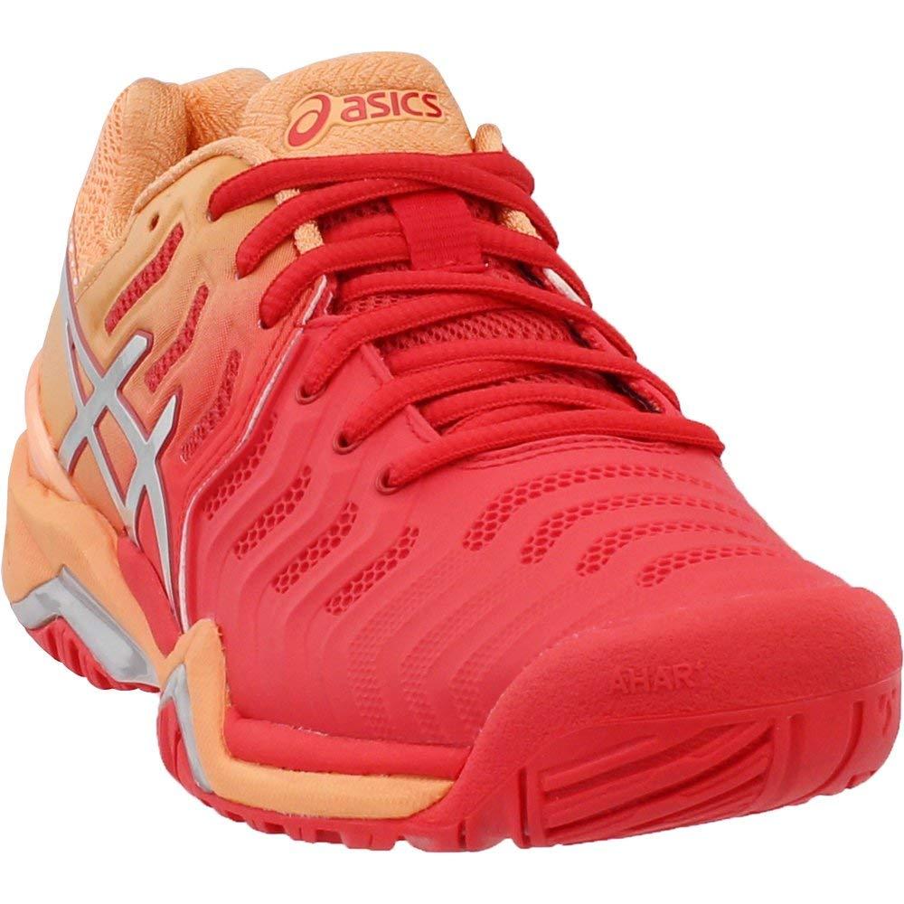 ASICS Womens Gel-Resolution 7 Tennis Shoe, Red Alert/Silver, Size 5