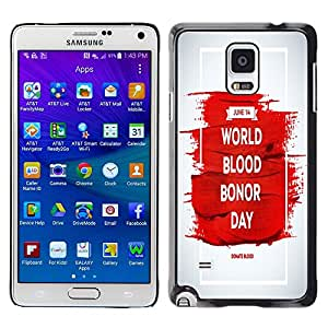 Dragon Case - FOR Samsung Galaxy Note 4 - world blood bonor day - Caja protectora de pl??stico duro de la cubierta Dise?¡Ào Slim Fit