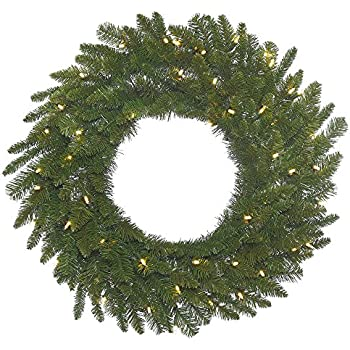 Vickerman A154337LED Spruce Wreath with 240 Green PVC Tips & 100 Italian LED  Lights on Green Wire, 36