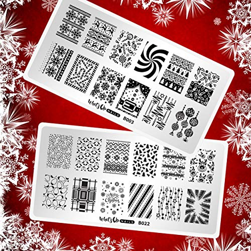 Whats Up Nails - Christmas New Year Winter Nail Stamping Plates (B003, B022) for Nail Art Design
