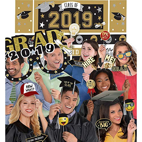 (Party City 2019 Graduation Black, Gold, and Silver Super Photo Booth Supplies with Props, Head Bopper and Scene)