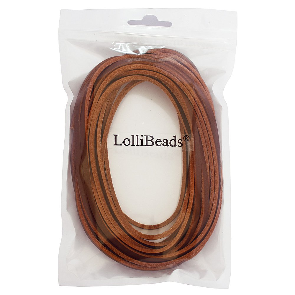 3mm Flat Genuine Leather Shoe Lace Boot Lacing Strip Cord Braiding String Light Brown LolliBeads 72 inches TM