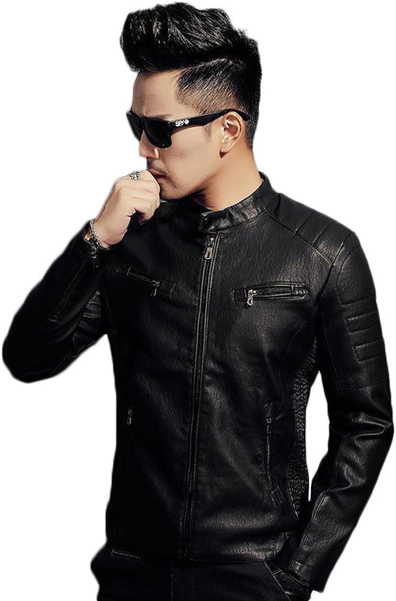 Mens Leather Jacket Slim Fit Biker Motorcycle Genuine Lambskin Jacket Coat T1463