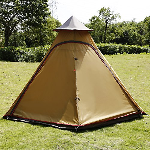 ANCHEER Teepee Tent for C&ing Tipi Tent Instant Family Tent 4 Person Tents Waterproof and Lightweight Pyramid Tent with Carry Bag & ANCHEER Teepee Tent for Camping Tipi Tent Instant Family Tent 4 ...