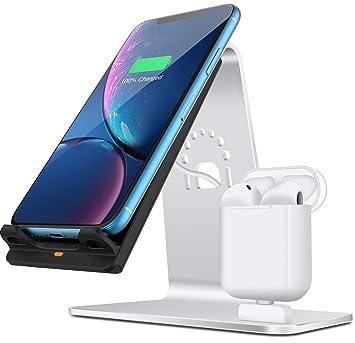 Bestand 2 en 1 Aluminio Airpods Estación de Carga & Base de Qi Cargador Rápido Inalámbrico para iPhone X/8/7 Plus, Plata (Airpods Charging Case Not ...