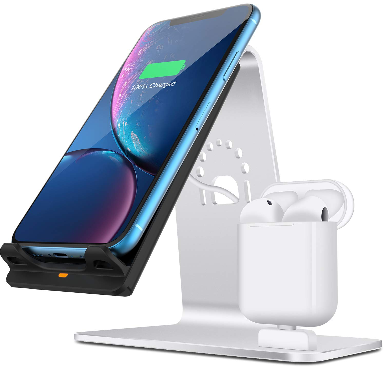 and Above Bestand Wireless Charger for LG No AC Adapter Samsung Galaxy S9//S9+//S8//S8+//S7//Note 8 Wireless Charger Stand Compatible with iPhone XR//XS Max//XS//X // 8//8 Plus Qi 15W - Grey