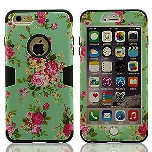 Suave Silicona Gel & Prima Duro Plastico Híbrido Funda Carcasa Cover Compatible con iPhone 6 y iPhone 6S (4,7 pulgadas), (No incluya iPhone 6 Plus 5.5 pulgadas), Flor Pintura Tipo