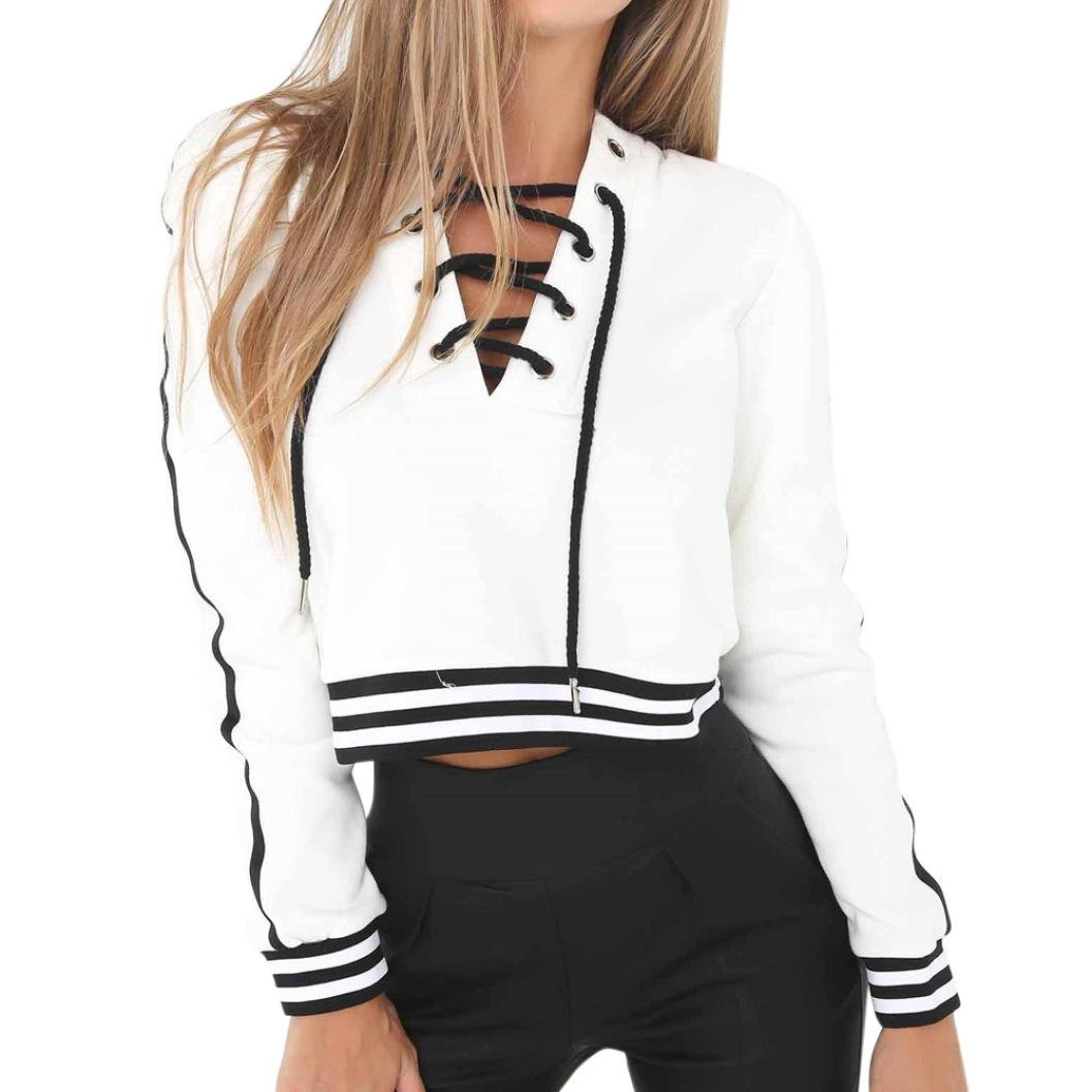 Creazrise Womens Bandage V Neck Long Sleeve Sweatshirt Ladies Sttiped Pullover Tops Shirt (White,XL) (White, S)