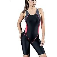 Women One Piece Boyleg Legsuit Sports Swimming Monokinis Slimming Costumes Swimwear, Ladies Built-in Cup Surf Athletic…