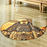 Gothic Decor Famous Cathedral European Church Catholic Gifts Sunset Tower Medieval Architecture Prague Picture Circle carpet Wall Hanging Believe Art Christian Living Room Bedroom-Diameter 100cm(40'')