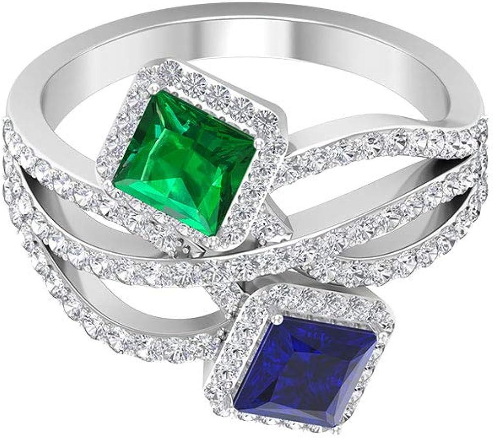 Anillo de oro esmeralda con corte princesa de 0,55 quilates, anillo de zafiro azul con corte princesa de 0,7 quilates, anillo de boda con halo de moissanita de 0,80 quilates, 14K Oro