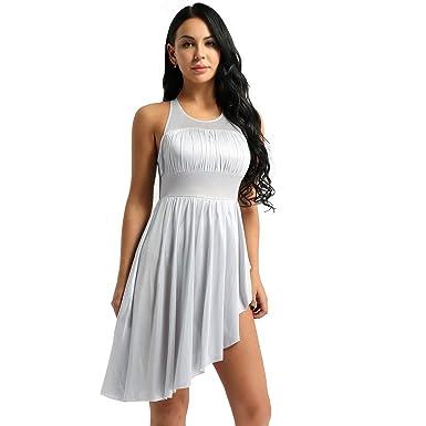 b20a1c457860 FEESHOW Women Mesh Halter Leotard High-Low Dance Dress Lyrical Modern  Contemporary Dance Costume Gray