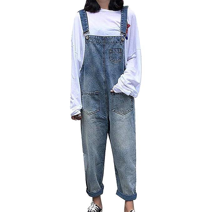Women High Waist Jeans Dungarees Jumpsuit Boyfriend Denim Baggy Pants Harem Pants Overalls