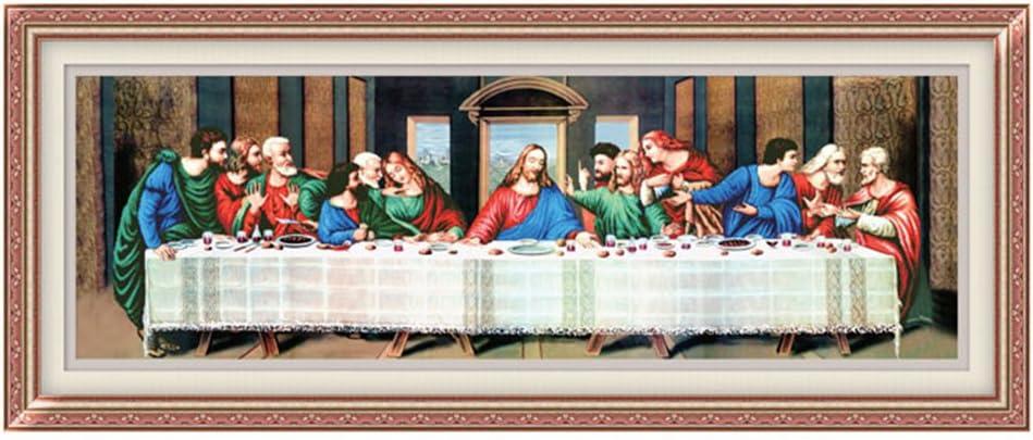 73.6inch x 26.4inch Ikercs 3D Kreuzstich Kit Last Supper of Jesus 3D Stamped Cross Stitch Kit