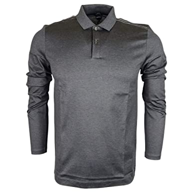 9abf1c91b Amazon.com  Hugo Boss Pleins Slim Fit Mercerised Grey Long Sleeve ...