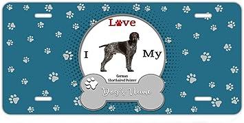 German Shorthaired Pointer Dog I heart Metal License Plate Frame Tag Border