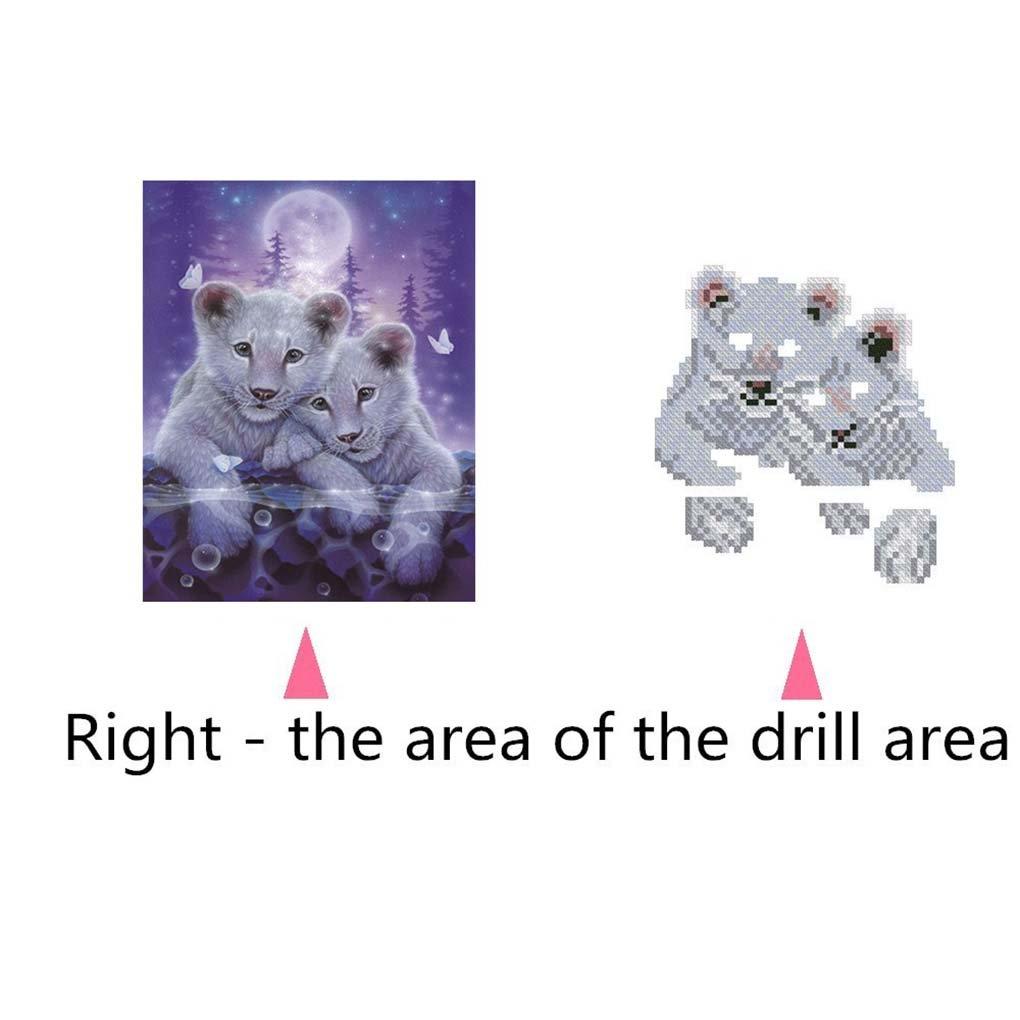 Level Pintura Bordado Artesan/ía Dibujo Animal Diamante del Punto de Cruz Oficina Cuadro de la decoraci/ón DIY de la Costura 5D Stitchwork