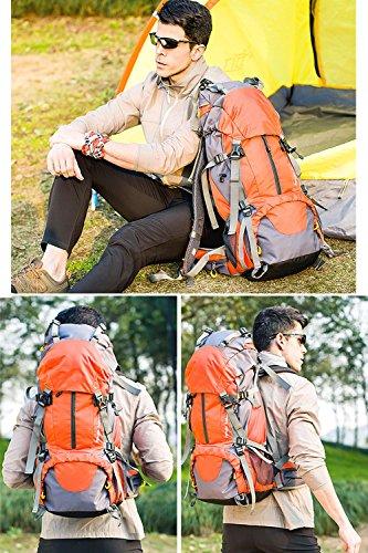 Wasserdichte Reise Wandern Rucksack, Große Kapazität Camping Bergsteigen Tasche 50L Expansion Reise Rucksack Reisetasche Männer Und Frauen Sport Rucksack Orange