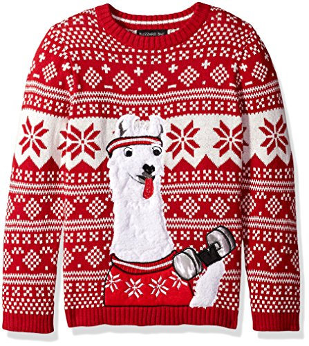 Blizzard Bay Boys' Big Llama Fitness Xmas Sweater, red Combo, L 14/16 (Boys Ugly Christmas Sweater)