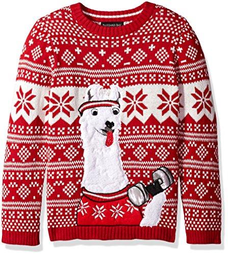 Blizzard Bay Big Boys' Llama Fitness Xmas Sweater, Red Combo, 18/20 XL