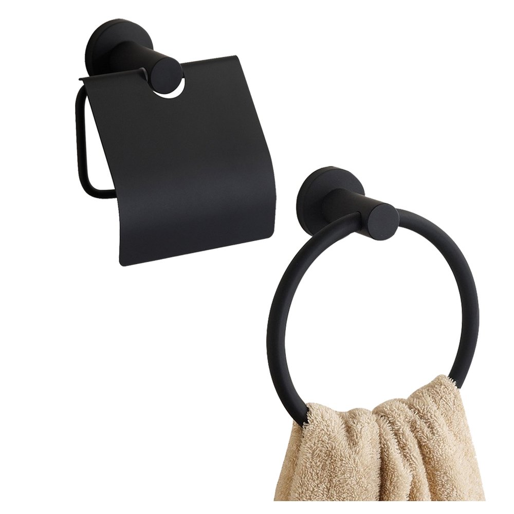 BigBig Home Bath Hardware Sets 2pcs Stainless Steel, Toilet Paper Holder, Towel Ring Wall Mounted Black Finish, Retro Style Bathroom Accesssories