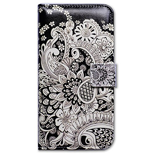 iPhone 6S Case,iPhone 6 Case, Bfun Packing Bcov White Flowers Card Slot Wallet Leather Cover Case For iPhone 6 6S