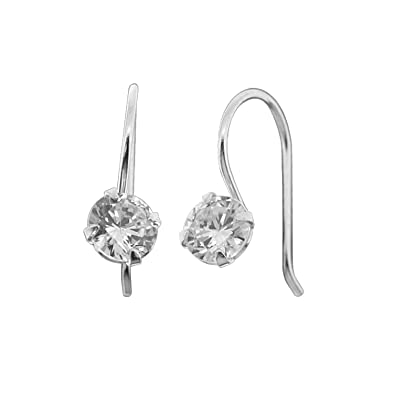 5f48f700b Image Unavailable. Image not available for. Color: Sterling Silver Cubic  Zirconia Simulated Diamond Small Drop Dangle Earrings