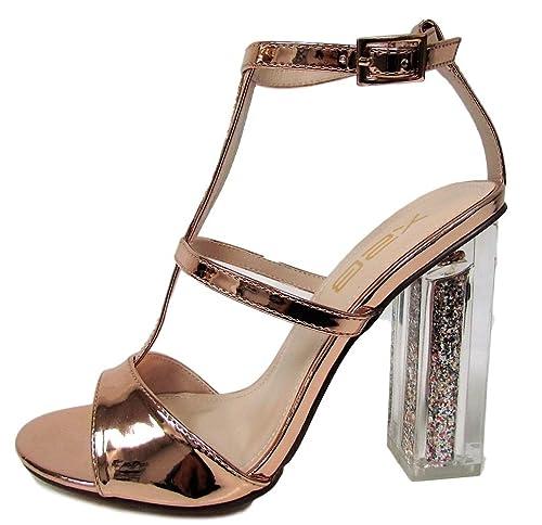 ab4d498cfdb X2B Alora-2 Lucite Clear Perspex Glitter Block Heel Open Peep Toe Sandal  Shoe Rose