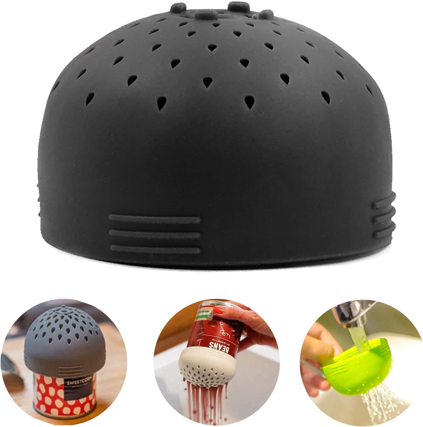 Multifunctional Mini Can Colander, Can Strainer, Made from silicone for Vegetable and Fruit Can Strainer - Quick Draining Strain and Contain Food (Gray)