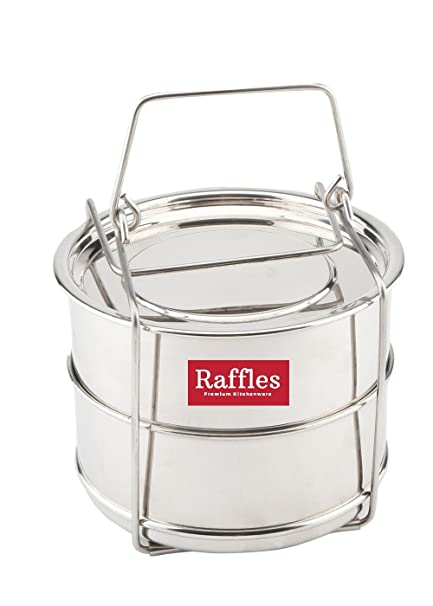 Raffles Premium SS Cooker Separator P3 Suitable for 3 litres Prestige Deluxe Plus Hard Anodised Outer Lid Pressure Cookers (2 Containers with Lifter, Stainless Steel)
